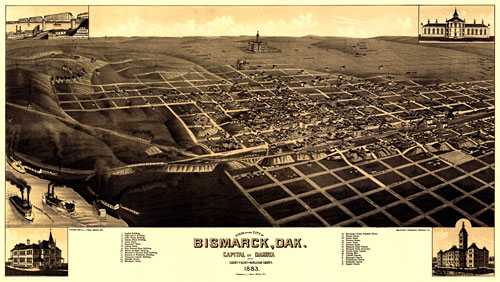 Map of Bismarck, Dakota 1883